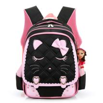 Girls School Bags Sleeping Kitten Primary Level Nylon Zippers Backpacks Princess - $42.95