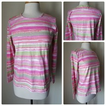 Koret Pink Green Striped Shimmer Sequin Long Sleeve Crew Neck Knit Top T... - $20.06