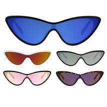 Womens Color Mirror Shield Futuristic Cat Eye Funky Plastic Sunglasses - $9.95