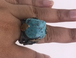Organic Big Resizable Textured Ring .925 Sterling Silver with Natural Turquoise
