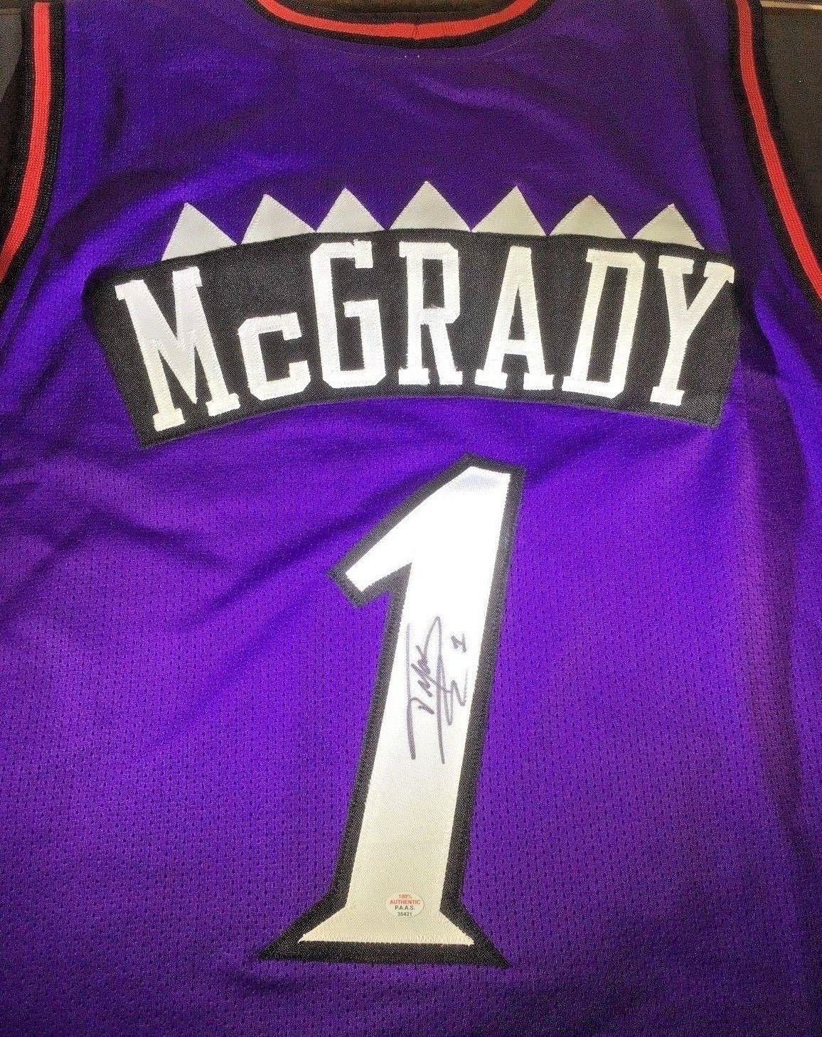 the best attitude 13d02 3d791 TRACY MCGRADY - NBA HALL OF FAME - HAND SIGNED TORONTO RAPTORS CUSTOM  JERSEY COA