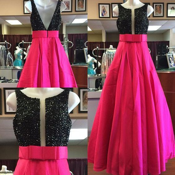 A-line long beaded prom dresses, hot pink evening gown,BD460132