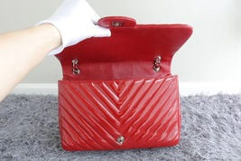 RARE AUTH Chanel Red Chevron Quilted Patent Maxi Classic Single Flap Bag SHW image 8