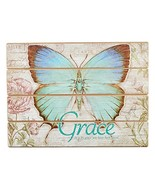 "Botanic Butterfly Blessings ""Grace"" Wooden Wall Plaque - Ephesians 2:8 - $21.85"