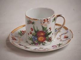 Yorkshire by Godinger Flat Demitasse Cup & Saucer Set Fruit Insects Brished Gold - $26.72