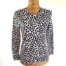 Ann Taylor LOFT sz XSmall white black polka dot button cardigan sweater ... - $14.95