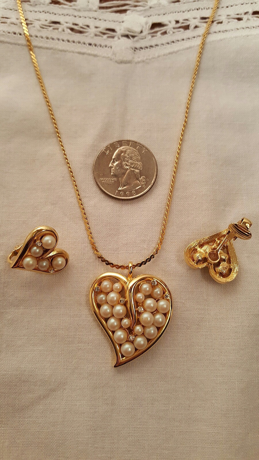 Pearl Cluster and Crystal Heart Shaped Vintage Jewelry Set