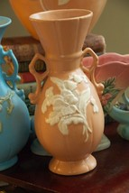 WELLER PINK CAMEO VASE AMERICAN ART POTTERY ROSEVILLE DOUBLE HANDLE ROSE... - $49.99