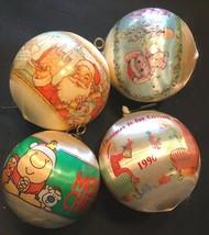 """Vintage Satin Plastic Overlay Christmas Tree Ornaments 3-1/2"""" Lot of 4 - $14.99"""