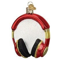 Red Headphones Holiday Ornament Glass - $37.76