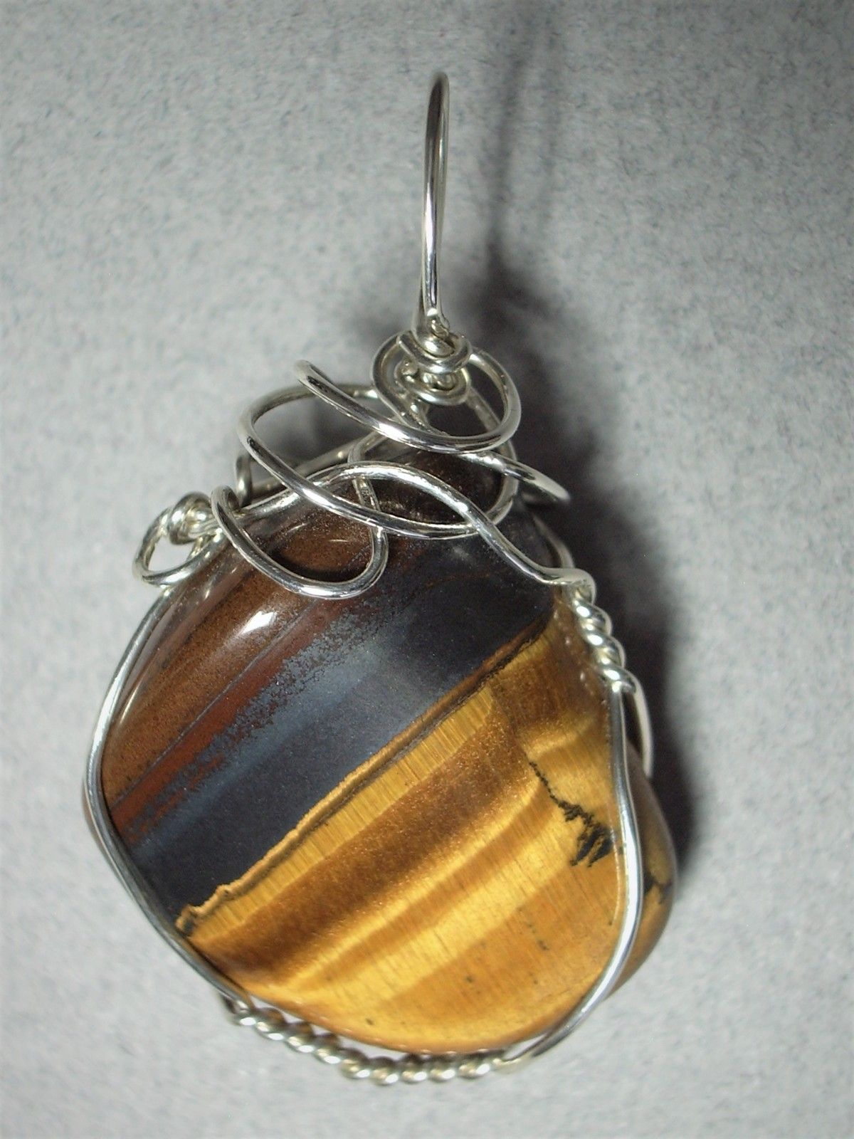Primary image for Wire Wrapped Golden Tiger's-Eye Pendant .925 Sterling Silver - Jemel