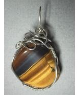 Wire Wrapped Golden Tiger's-Eye Pendant .925 Sterling Silver - Jemel  - $54.00