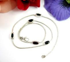 Monet BLACK ENAMEL BEADS Vintage NECKLACE Silvertone Oblong Beaded Chain... - $16.99