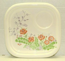 Vintage Japan Floral Ceramic Sectioned Snack Plate Orange & Green Flower... - $14.85