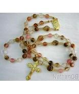 Catholic Rosary Rosenkranz Chapelet Cherry Quartz & Vermeil Gold - $113.85
