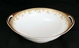 Haviland Limoges France Serving Bowl Green and Gold Design 2 Handles - $29.44