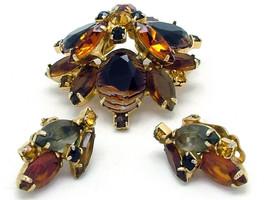 Vintage Juliana Style Brooch & Earrings Set Open Back Ribbed Art Glass C... - $99.95