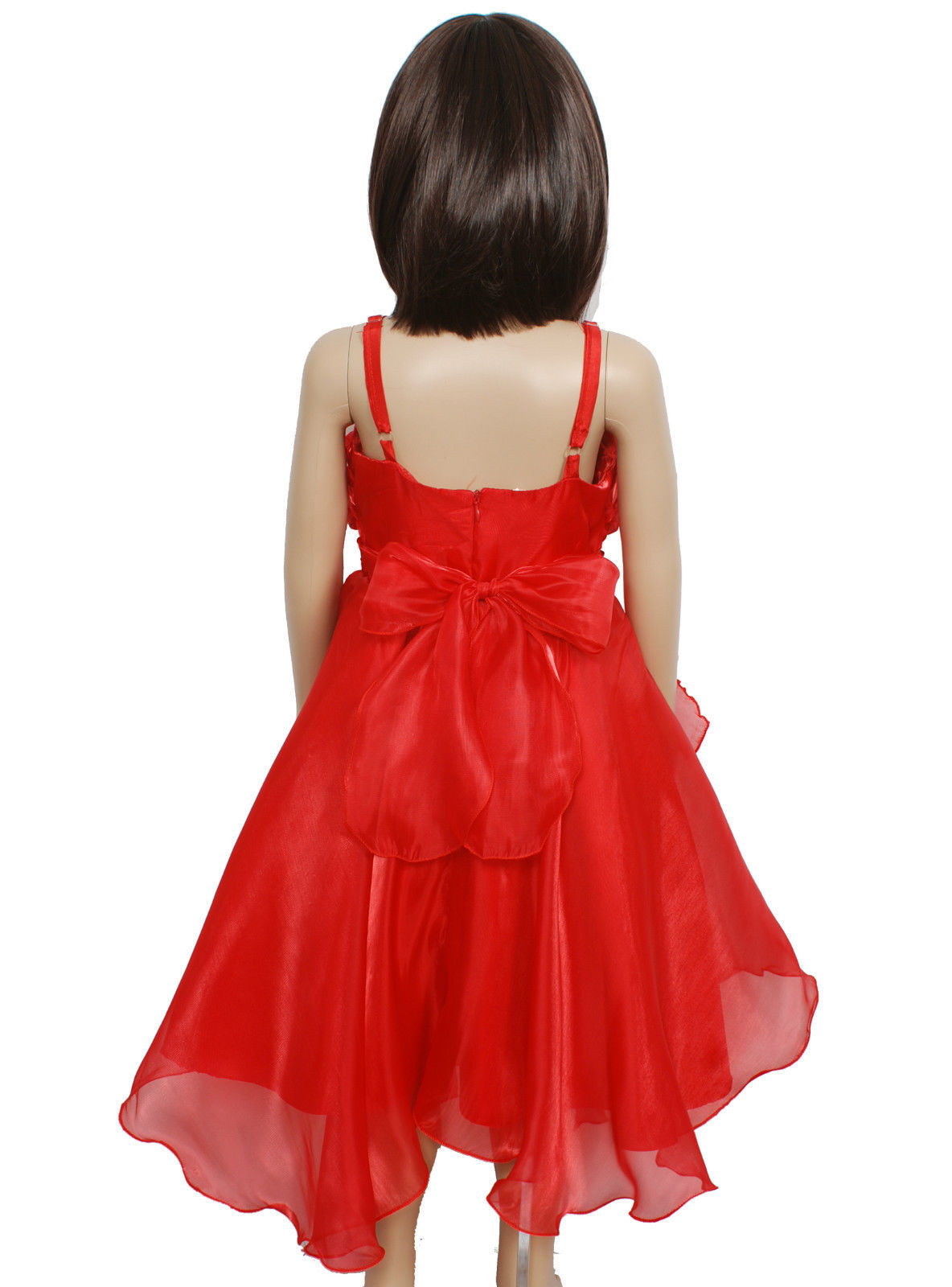 New Flower Girl Party Bridesmaid Pageant Dress in Pink,Red,White 2-3 to 5-6 Year