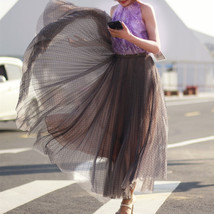 Women Full Pleated Long Skirt Pleated Tulle Tutu Skirt Party Tulle Outfits Plus  image 5