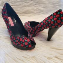 Betsey Johnson Peep Toe Pumps Sz 6 M Platform, Cone Heels, Rockabilly - $34.65