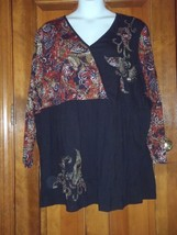 NEW Ulla Popken Boho Black Beaded Faux Wrap Tunic Blouse Shirt Top Plus ... - $46.53