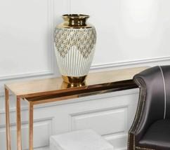 Geometrical Gold Vase 22 Inches Tall Large Jeweled Porcelain - $209.50