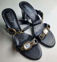 Franco Sarto Black Two Strap Women's Heels With Jewel Size 8.5 image 2