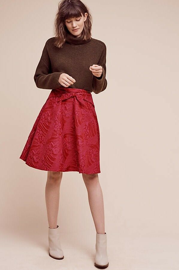 Primary image for New $168 Anthropologie Freesia Bow Skirt by Eva Franco RED/PINK Size 4