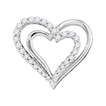 10k White Gold Womens Round Diamond Double Nested Heart Pendant 1/4 Ctw - $360.00