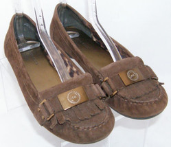 AK Anne Klein Kina brown suede round toe slip on penny loafer kilty flat... - $28.66