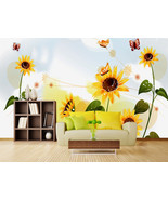 3D Butterfly sunflower Wall Paper Wall Print Decal Wall Deco Indoor wall... - $32.15+
