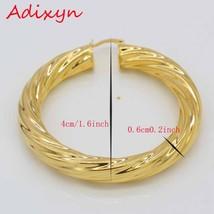 Adixyn 5.3CM African Big Hoop Earrings for Women Gold Color & Brass Twisted Earr - $19.83