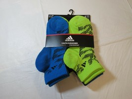 Adidas Youth Cushioned Climalite Stain Resistant Socks Quater 6 Pair 13C - $21.26