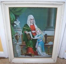 c1900 ANTIQUE CATHLIC SAINT ANNE TIN LITHO PRINT LITHOGRAPHIC LADY GIRL ... - $69.29