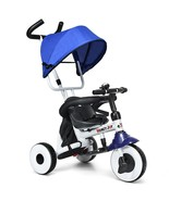 4-in-1 Kids Baby Stroller Tricycle Detachable Learning Toy Bike-Blue - $99.65