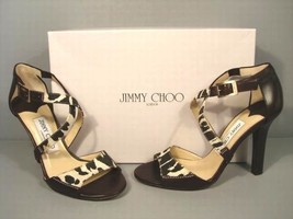Jimmy Choo 36 Pioneer Leopard Print Canvas Dark Brown Leather Sandals Sh... - $279.80