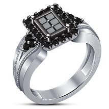 White Gold Finish 925 Sterling Silver Princess Cut Black CZ Women's Wedding Ring - $75.87