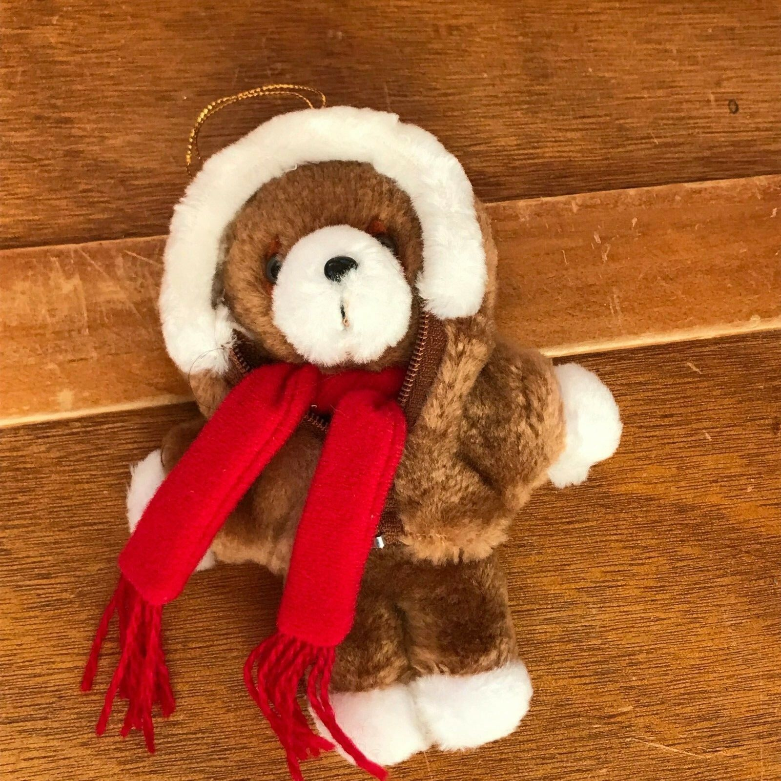 Vintage Avon Small Brown Teddy Bear w Zip Hoodie & Red Scarf Plush Stuffed Anima
