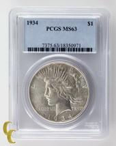 1934 Silver Peace Dollar PCGS Graded MS63 - $268.28