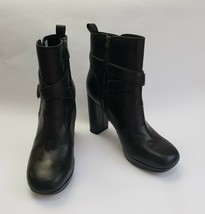 Clarks Ankle Boots Shoes Black Stack Heels Zipper Leather Gabriel Size 9... - $98.95