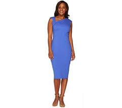 GILI Milano Ponte Knit Dress Lined Asymmetric Neck Dazzling Blue 8 NEW A... - $44.52