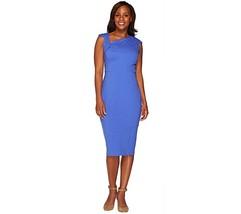 GILI Milano Ponte Knit Dress Lined Asymmetric Neck Dazzling Blue 8 NEW A... - £33.76 GBP