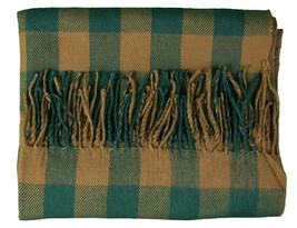 WeSC Unisex Odin Green Brown Checker Woven Acrylic Winter Scarf Shawl B405933 NW image 2