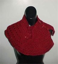 Hand Crochet Burgundy Button Down Neckwarmer #B102 NEW - $12.19