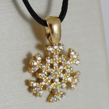 18K YELLOW GOLD SNOWFLAKE PENDANT 19 MM, 0.75 INCHES, ZIRCONIA, MADE IN ITALY image 2