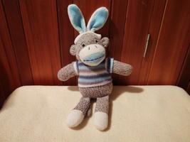 Dan Dee Easter Sock Monkey Bunny Ear Blue Stripe Sweater Plush Stuffed Toy - $15.84