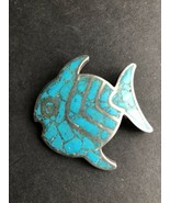 Vintage Turquoise Sterling Silver Fish Pendant - $29.59