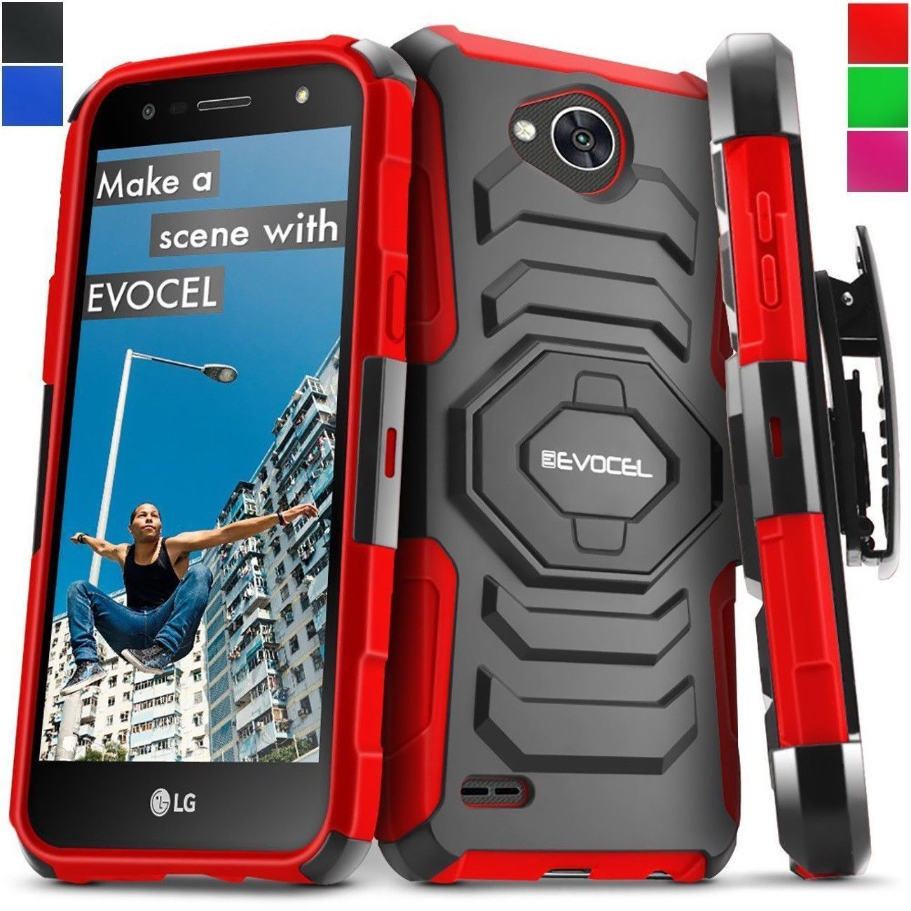 Shockproof Case Cover For LG Fiesta LTE/X Power 2/LG V7/ X Charge Clip Kickstand