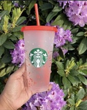 Starbucks 2021 Summer Confetti Color Changing Cold Cup Tumbler 24 oz RED - $16.82