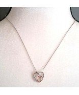 Necklace Intertwined Hearts Sterling Sliver on 16-18 inch box chain Gift... - $14.50